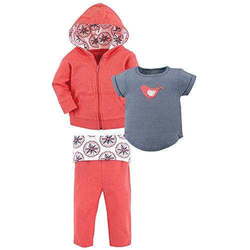 Yoga Sprout Baby 3 Piece Jacket, Top and Pant Set, Coral Bird Toddler, 2 -