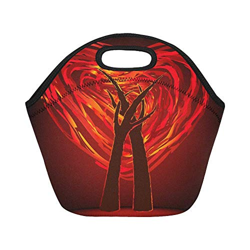 1bf0a776f737 InterestPrint Lunch Bags Two Trees In Fire Heart Lunch Bag Lunch Box Lunch  Tote For Adult Teens Men Women
