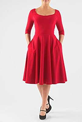 eShakti Women's Cotton knit fit-and-flare dress