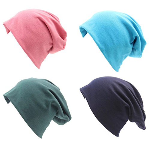 JOYEBUY 4 Pack Women Men Stylish Cotton Beanie Cap Slouchy Beanies Hats Soft Sleep Cap (Style B) (Dwarf Hats)