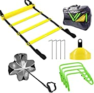 FYGAIN Speed Agility Training Set, Includes 1 Resistance Parachute, 1 Agility Ladder, 4 Steel Stakes, 4 Adjust