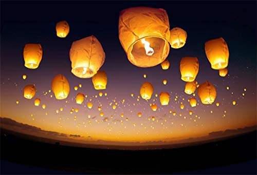 AOFOTO 10x7ft Chinese Wishing Lantern Backdrop Lamps Dark Sky Full of Lamps Photography Background Spring Festival Lantern Festival Celebration Best Wishes Family Gathering Party Studio Prop