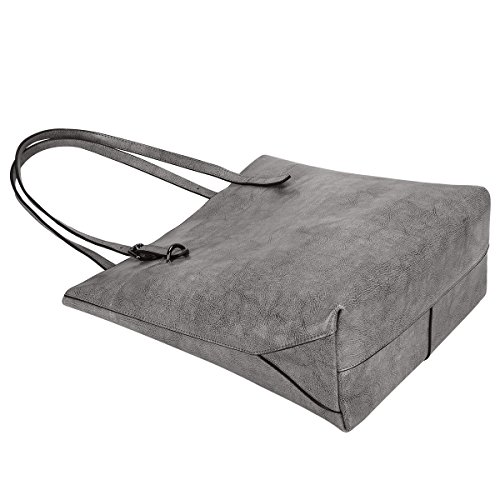Capacity Large Grey Leather Big zone Shoulder Tote S Bag Genuine Vintage Handbag zvxHPp