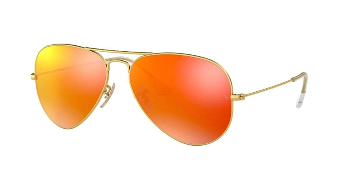 Amazon.com  RAY BAN AVIATOR LUXOTTICA ORANGE MIRROR GOLD FRAME  RB3025  112-69 MADE IN ITALY   Shoes 47eb7fd6a1c5