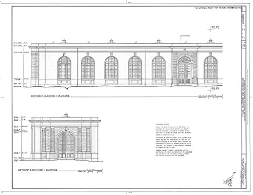 Historic Pictoric Blueprint Diagram HABS NY,60-POHI,1C- (Sheet 3 of 4) - Kykuit, Orangerie & Greenhouse, 200 Lake Road, Pocantico Hills, Westchester County, NY 14in x 11in