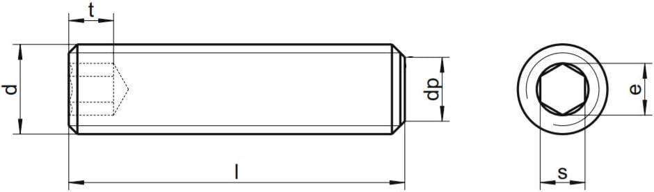 x50 Gewindestifte Innensechskant Kegelkuppe Madenschrauben Edelstahl A2 DIN 913 M5x5