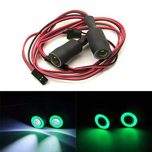 Jack-Store 2 Leds Angel Eyes LED Light Headlights/Taillight/Back Light 13MM Outer Diameter for 1/10 RC Crawler Car (Green+White) ()