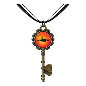 Chicforest Bronze Retro Style Sunset Airplane Key to Her Heart Pendant