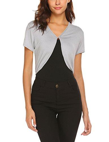 Short Cardigan V-neck Sleeve - HOTOUCH Women's Cropped V Neck Cardigan Short Sleeve Shrugs for Dresses Grey L