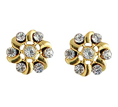 594d0b223 Buy Touchstone Rhinestone Stud Earrings for Women (Gold) Online at Low  Prices in India | Amazon Jewellery Store - Amazon.in