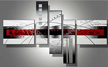 """Wieco Art 5-Piece """"Perfect White Lines"""" Stretched and Framed Hand-Painted Modern Abstract Oil Paintings on Canvas Wall Art Set"""