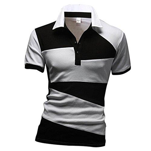 Männer Neu Gestreifte Lässige T-Shirts Patchwork-T-Shirts (M, Weiß)
