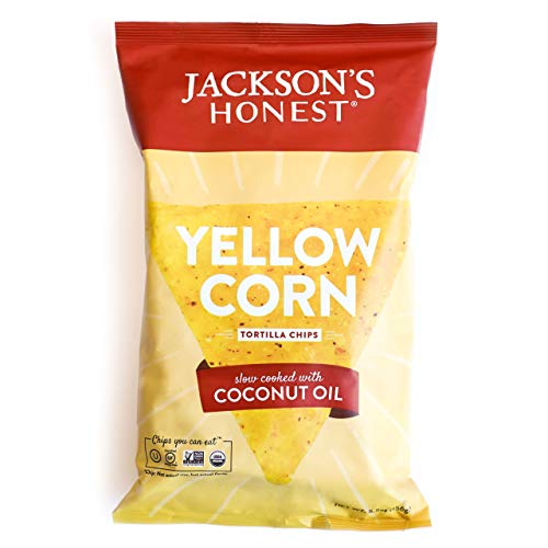 Jacksons Honest Tortilla Chips - Yellow Corn - Made with Organic Coconut Oil, Non GMO, 5.5 oz. (12 Pack)