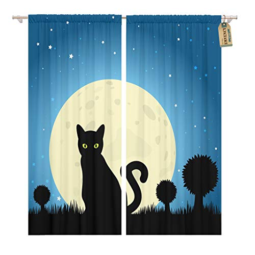 Golee Window Curtain Dark Halloween Black Cat Silhouette Against Moon Night Sky Home Decor Rod Pocket Drapes 2 Panels Curtain 104 x 96 inches ()