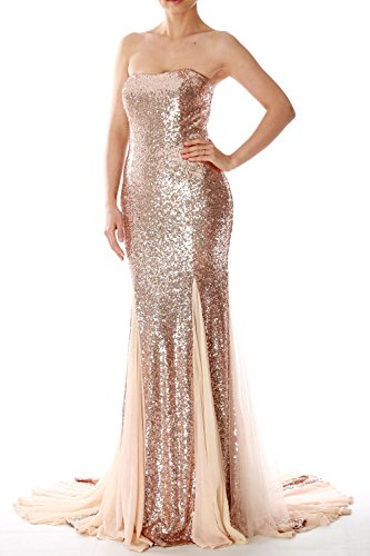 Mermaid Formal MACloth Evening Light Ball Gown Prom Sequin Dress Strapless Gold Long awn4wpgqU