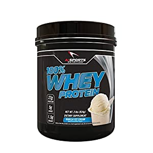 100% Whey Vanilla Ice Cream Protein Powder by AI Sports Nutrition | 100% Whey Protein Powder 2 Lbs (28 Servings) Amazing Vanilla Ice Cream Flavor