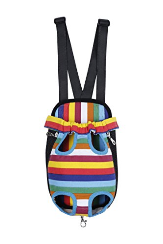 For Costume Dogs Monkey Pattern Flying (Hii-Yo Outward Portable Durable Canvas Mesh Cotton Dacron Pet Dog Cat Legs Out Travel Front Backpack Carrier Bag Pet Under 7KG Chest & Back Pack,3 Sizes & 3 Style (Stripe,)