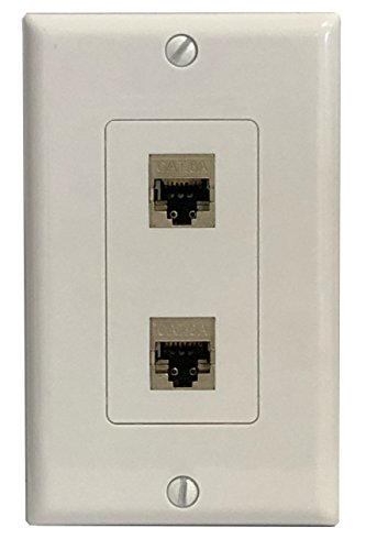 (RiteAV CAT 6A 2 Port Shielded Cat6a Punchdown Wall Plate 1 Gang Decorative - White)