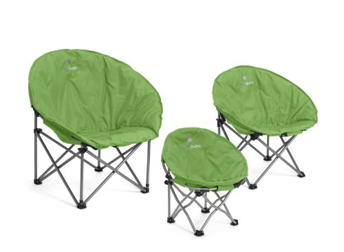 Lucky Bums Moon Camp Indoor Outdoor Comfort Lightweight Durable Chair with Carrying Case Green, Medium