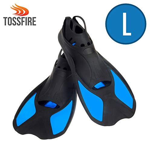 Universal Flippers Short Blade Floating Swimming Fins for US Size L Ankle Width 3.1 Inch Thermoplastic Rubber Travel Fins for Surfing Swimming Diving Snorkeling Watersports - Blue