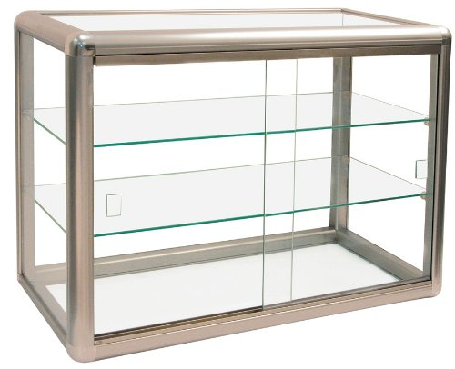 Elegant Bronze Aluminum Display Table Top Tempered Glass Show Case. Sliding Tempered Glass Doors with Key Lock- Measures 24'' wide by 12'' deep and 18'' tall.