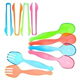 """Set of 10 - Heavy Duty Party Disposable Plastic Serving Utensils, Four 10"""" Spoons and Two Forks, Four 6-1/2"""" Tongs, Neon Assorted colors"""