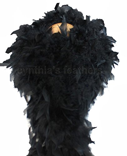 Cynthia's Feathers 80g Turkey Chandelle Feather Boas Over 30 Color & Patterns (Black) ()