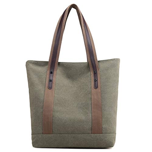 Women's Handbags Canvas Shoulder Bags Retro Casual Tote Purses (Army Green)