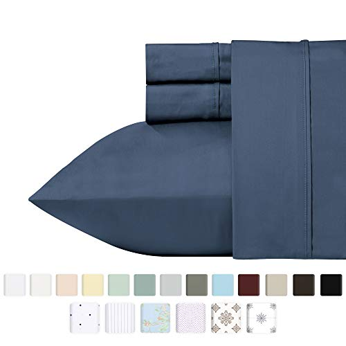 - California Design Den 400 Thread Count 100% Cotton Sheet Set, Indigo Batik Queen Size Sheets 4 Piece Set, Long-Staple Combed Pure Natural Cotton Best Bed Sheets for Bed, Soft & Silky Sateen Weave