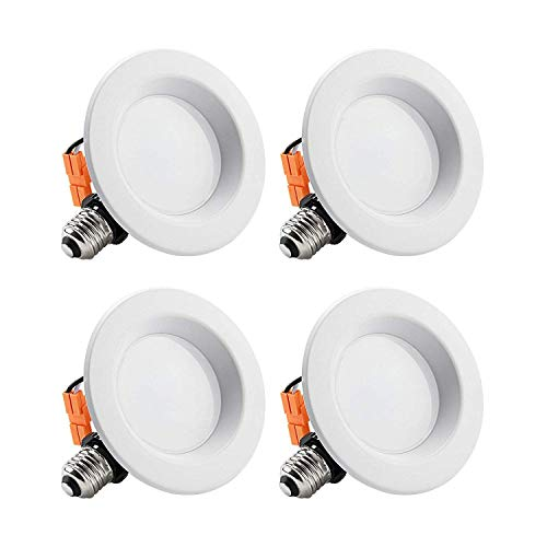 (TORCHSTAR 4-Inch Dimmable Recessed LED Downlight with Smooth Trim, 10W (65W Eqv.), CRI 90, ETL, 2700K Soft White, 700lm, Retrofit Lighting Fixture, 5 Years Warranty,Pack of 4)