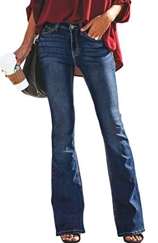 Flared Leg Jeans Pants - GARMOY Womens Skinny Bell Bottom Jeans Flare Wide Leg Slim Fit High Rise Denim Pants 9021 Blue 2