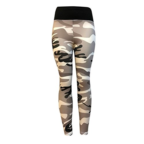 Neartime Casual Leggings, Women's Fashion Workout Camouflage Sports Pants Elastic Waist Running Skinny Yoga Trousers (L, ()