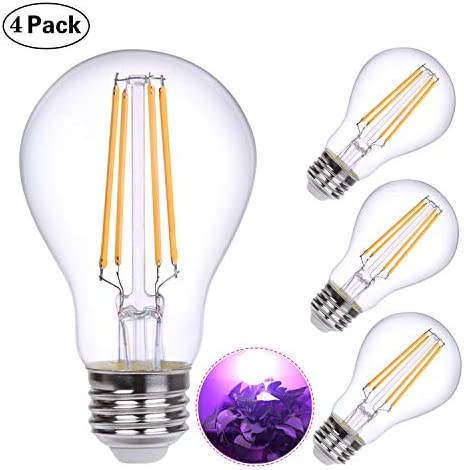 HOLA Plant Light Bulb, Grow Lights for Indoor Plants Full Spectrum, 60W Equivalent LED Grow Light Bulb for DIY Horticulture, Hydroponics, Greenhouse, Garden, Grow Healthier, 4 Pack 6W E26
