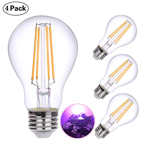 HOLA Plant Light Bulb, Grow Lights for Indoor Plants Full Spectrum, 60W Equivalent LED Grow Light Bulb for DIY Horticulture, Hydroponics, Greenhouse, Garden, Grow Healthier, 4 Pack (6W E26)