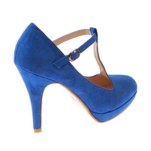 La Modeuse-Sandalias salomé A Plataforma de imitación de piel Azul - azul