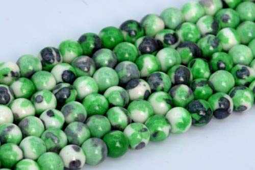 4mm Green Blue Black Rain Flower Jade Beads Grade Round Loose Beads 15'' Crafting Key Chain Bracelet Necklace Jewelry Accessories Pendants