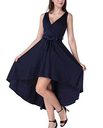 MAVIS LAVEN Women's 1950s Vintage Sleeveless High Low Cocktail Party Swing Dress with Belt Navy Blue Small