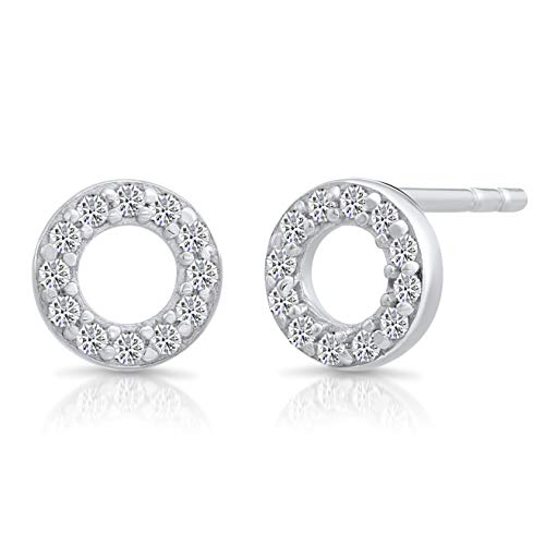 dac659e25 Tiny Sterling Silver Open Circle Stud Earrings with Cubic Zirconia ...