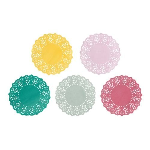 Talking Tables Truly Scrumptious Mini Disposable Doilies for a Tea Party, Birthday or Luau Party, Multicolor (100 Pack)