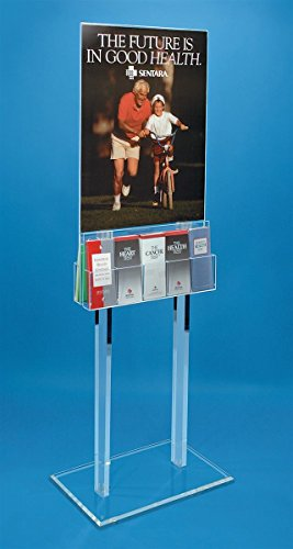 [Double-Sided Poster Holder for 22 x 28 Graphics with Adjustable Literature Pockets, Clear Acrylic Floor Standing Display] (Floor Standing Acrylic)