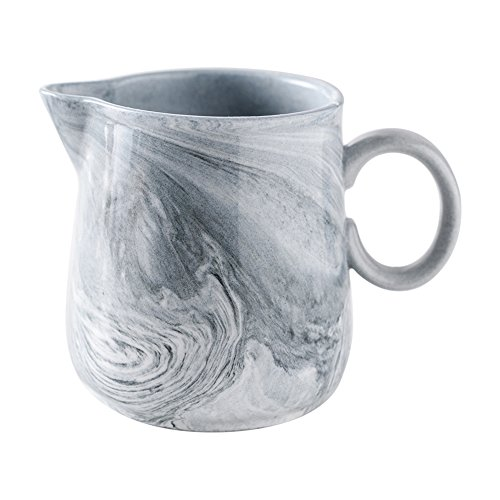 - Ins Modern Style Marble Ceramic Coffee Milk Tea Creamer Pitcher Nordic Porcelain Honey Jug Sauce Pitcher Jug Vase Syrup Dressing Server Mug Cup with Handle for Kitchen Home Decor Gift