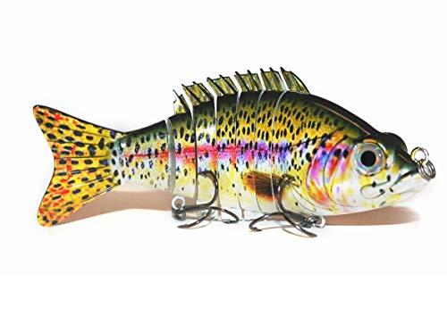 "Onyx Gear Multi 7 Segment 6"" inch Swimbait Fishing Northern Pike Bass Muskie Walley Lifelike Hard Lure 3D Eye Durable Carbon Steel Sharp Cutting Point Treble Hooks"