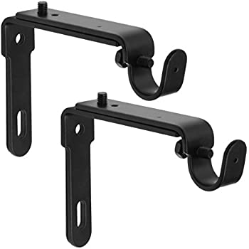 GrayBunny GB 6809 Adjustable Curtain Rod Brackets, Set Of 2, Black, Premium