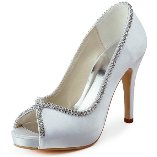 ElegantPark EP11083 Women Pumps Peep Toe Rhinestones Platform High Heel Satin Wedding Bridal Shoes White US 7