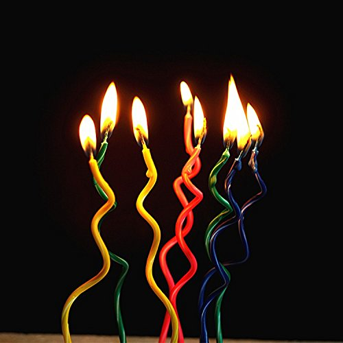 Astra Gourmet Pack of 24 Spiral Birthday Candles Novel Candles Fun Primary Fashion Creative Colorful Coil Candle, Assorted 4 Colors(pink blue yellow green)
