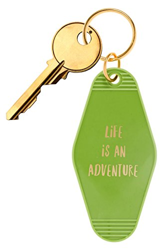 """(Bops Retro Motel/Hotel Style Keychain """"Life Is An Adventure"""" Vintage Inspired Keychain + Inspirational Quote)"""