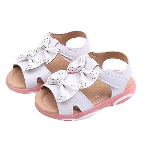 (Kiminana Fashion Children's Girls Bow Cute Soft Bottom Hollow Beach Sandals Bright Shoes White)