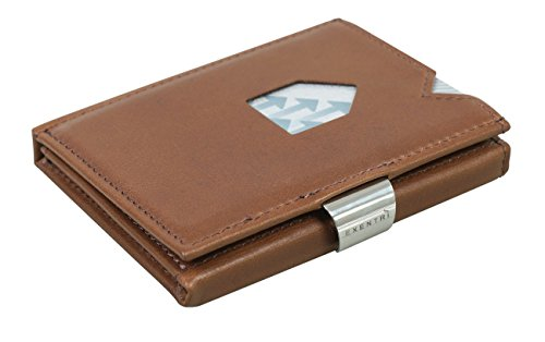 EXENTRI Trifold Wallets w/RFID in Hazelnut - Premium Leather with Stainless Steel Locking Clip | Stylish, Sophisticated, Compact ()