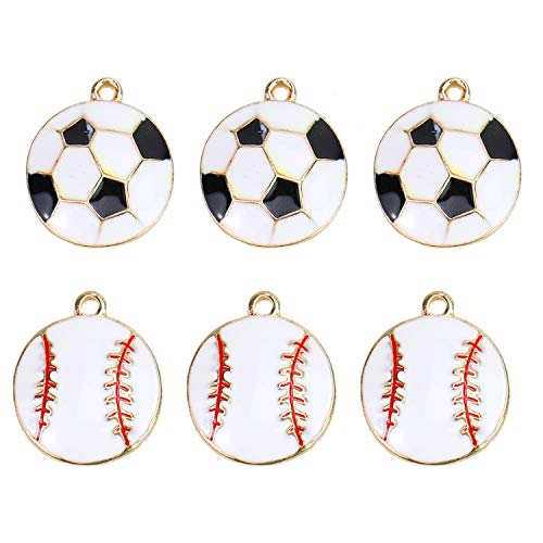 (Monrocco 20Pcs Enamel Football Charms Softball Charms Pendant Sports Enamel Charms for Jewelry Making and Crafting)