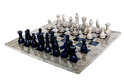 RADICALn 16 Inches Handmade Fossil Coral and Black Marble Full Chess Game Original Marble Chess Set